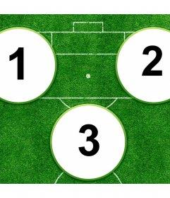 Collage pour créer votre parfaite équipe de stars du football avec trois coups de feu. Jusquà trois photos de domaine