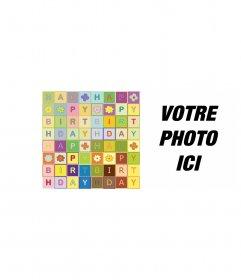 """Carte d""""anniversaire Joyeux anniversaire au texte comme un puzzle. en couleur"""