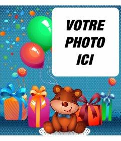 Lanniversaire de carte virtuelle pour enfants avec un ours