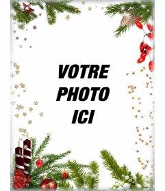 Carte postale avec des décorations de Noël pour personnaliser votre image