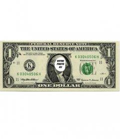 Photomontages originale où vous pouvez mettre votre visage sur le billet dun dollar
