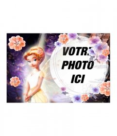 Photomontage de fée aux cheveux orange avec des fleurs et vêtus de pourpre correspondant espace mémorandum fond sphérique et un cadre pour y inclure votre photo