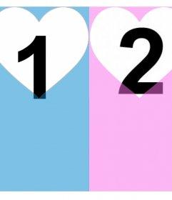 Effet pour deux photos et les ajouter dans un rose et un filtre bleu avec spécial Photomontage de coeurs pour les couples à éditer avec deux photos et lajouter dans un filtre rose et lautre bleu avec deux cœurs percés pour donner une touche spéciale à votre image avec votre personne spéciale et son libre