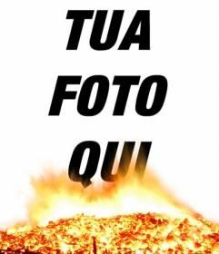 Placez vos photos dans la photo et brasasa effet de feu. Semblent graver vos photos!