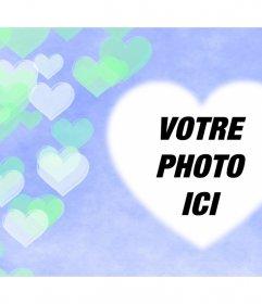 Effet avec des coeurs transparents flottant où vous pouvez ajouter votre photo