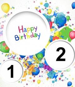 collage coloré pour célébrer un anniversaire Télécharger carte danniversaire deux photos