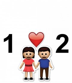 Cadre gratuit pour deux photos avec emoji du couple et de leffet photo originale dun coeur où vous pouvez télécharger deux photos et ajouter le émoticône dun couple avec un cœur. collage parfait pour les personnes romantiques et vous pouvez partager sur votre réseau