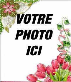 Cadre décoratif avec de belles roses et des fleurs pour vos photos
