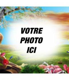 Effet photo dun paysage à laube pour modifier avec effet dun paysage avec des roses, des plantes et des papillons sur une aube Mignon votre image où vous pouvez télécharger votre photo et décorer avec une touche originale. Appelez lattention avec cet effet pour votre profil