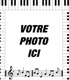 Cadre photo avec notes musicales dun piano