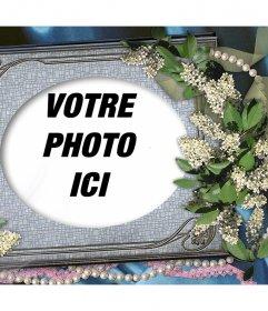 Portrait déditer avec votre photo préférée et de le décorer avec des fleurs et des ornements
