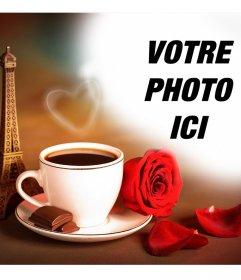 Effet photo de lamour avec la Tour Eiffel de Paris et un café