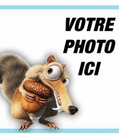 Téléchargez votre photo pour être avec lécureuil deffet photo spécial de Lâge de glace pour les enfants avec le caractère Scrat (écureuil) du film Ice Age. Vous pouvez le modifier avec une photo et gratuitement