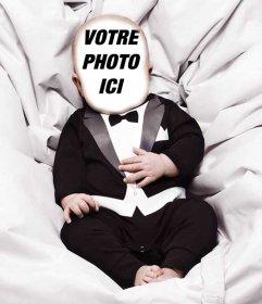 Effet photo dun bébé vêtu dun costume de télécharger une photo