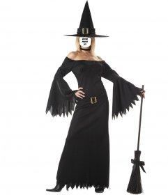 Photomontage de la femme avec costume sexy de sorcière