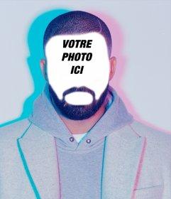 Si vous voulez ressembler à Drake puis télécharger une photo à cet effet Funny photomontages pour mettre votre visage dans le visage du chanteur Drake avec une barbe et un éclairage bleu et rose et partager avec vos amis cet effet dorigine. Etonnez vos amis en étant le célèbre chanteur de hip-hop dans son bling vidéo Hotline, vient de mettre votre visage sur son visage et voir le résultat réaliste de cet effet.