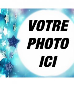 Cadre photo gratuit avec des étoiles bleues pour télécharger votre photo