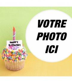Effet photo avec un petit gâteau danniversaire pour votre photo