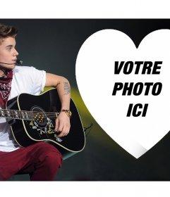 Téléchargez votre image à lintérieur dun coeur et de ligne deffet de photo de Justin Bieber du chanteur Justin Bieber avec une guitare de mettre votre photo à lintérieur dun coeur. Partagez avec vos amis cet effet