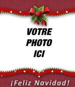 Red cadre photo de Noël avec un arc de mettre votre photo