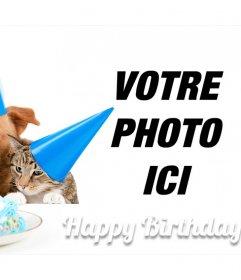Carte danniversaire douce avec un chien et un chat pour une image