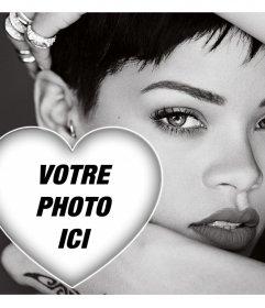 Rihanna en noir et blanc où vous pouvez télécharger votre photo à lintérieur dun coeur