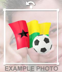 Décorez vos photos avec cet autocollant avec le drapeau de la Guinée-Bissau et un