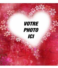 Coeur avec des fleurs pour décorer votre photo avec cet effet libre