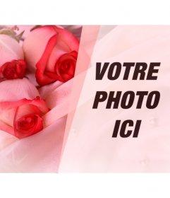 Photomontage romantique de mettre une photo de votre partenaire avec des roses sur soie, des perles et des éclairs de lumière.