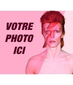 Photomontage avec David Bowie avec filtre rose pour ajouter et éditer vos photos en ligne