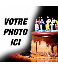 Gâteau au chocolat avec des bougies où vous pouvez mettre vos photos