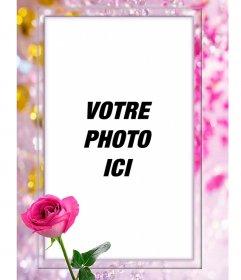 Cadre photo avec une rose, entouré par de belles perles et de diamants
