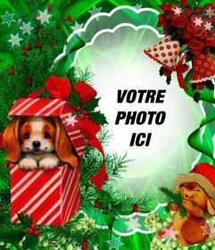 Photomontage de Noël avec une belle chiot comme un cadeau