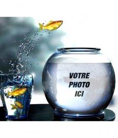 Créer un photomontage avec un réservoir plein deau avec des poissons jaunes sautant dun verre où vous pourrez mettre une photo