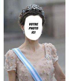 Photomontage de la princesse Letizia avec une grande couronne pour insérer votre photo