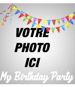 Effet en ligne pour télécharger votre photo et de célébrer votre fête danniversaire