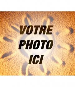 Photomontage de superposer une photo de sable avec un soleil dété sur la photo que vous voulez et ajouter un peu de texte