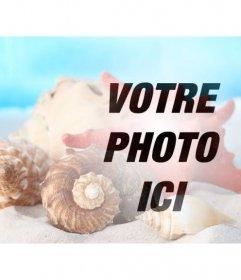 Photomontage de faire un collage avec des coquillages et des conques dans le sable sur la plage sur une photo de vous