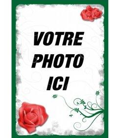 Cadre pour une photo numérique. Une bordure verte avec des roses rouges et blanches effets intérieurs