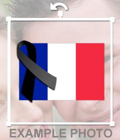 Drapeau de la France avec une cravate noire de deuil pour ajouter à vos photos