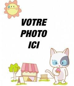 Enfant Photomontage avec un dessin de chat