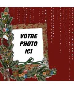 Carte de Noël et des détails brillants pour mettre votre photo
