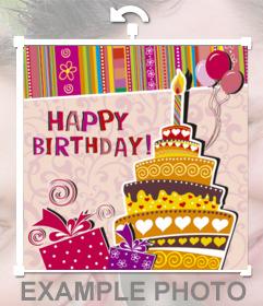Autocollant pour féliciter un anniversaire avec limage dun gâteau à un parti que vous pouvez intégrer dans vos photos. Avec le texte joyeux anniversaire, un gâteau avec une bougie et ornements dessiné anniversaire