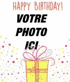 Photomontages exemplative pour célébrer un joyeux anniversaire avec un cadeau décoratif