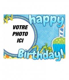 Carte postale Happy Birthday dans un cadre rond pour votre photo - Photoeffets