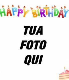 """Carte d""""anniversaire pour mettre votre photo en arrière-plan. Lettres de couleur, des bougies et un gâteau!"""