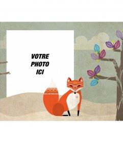 Cadre photo avec une photo dun arbre et un renard