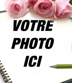 Cadre de roses pour les photos où vous pouvez ajouter une photo à un ordinateur portable