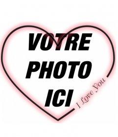 """Simple cadre en forme de coeur pour une photo avec un Je t""""aime en anglais. Pour les amateurs, le donner à votre partenaire sur la Saint-Valentin"""
