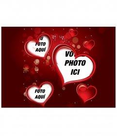 Cadre rouge pour une photographie numérique qui apparaît dans trois cœurs. Complétez votre cadeau amour du détail cette Saint-Valentin